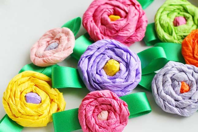 Tissue Paper Corsage Crafts For Kids Mothers Day Crafts Mothers