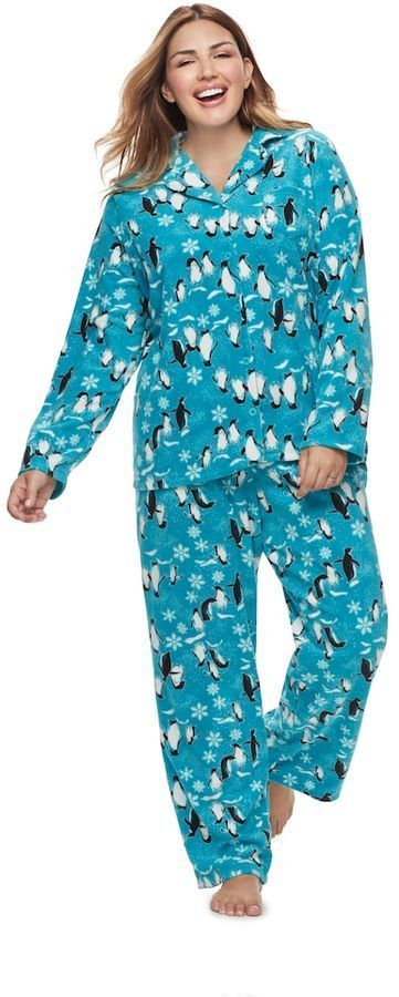 Jammies For Your Families Plus Size Women s Plus Jammies For Your Families  Penguin Pattern Button- bbd7ce355