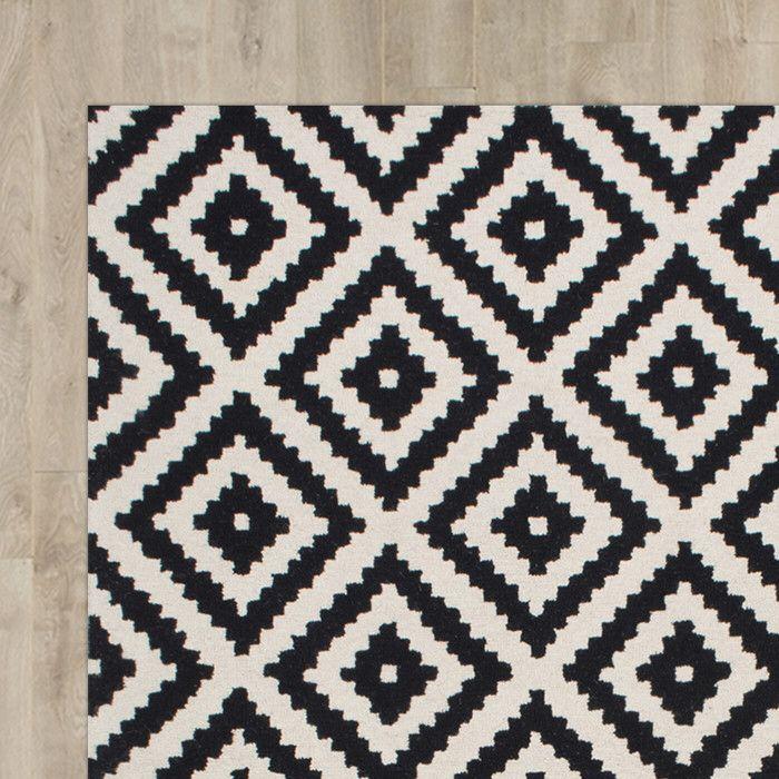 Attrayant Kelly Black U0026 Cream Geometric Wool Hand Tufted Area Rug
