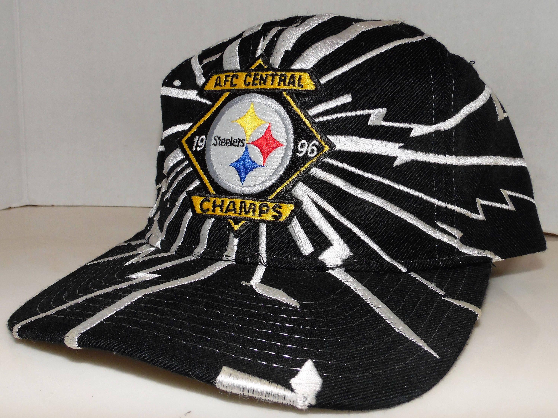 Pittsburgh Steelers 1996 AFC Central Champs NFL Football Vintage 90 s  Starter Brand Shockwave Snapback Hat Cap by VintageStockJax on Etsy 8f18ce862