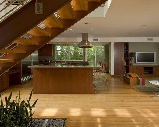 Two Story Pavilion in Transparent Design : Stunning Modern Kitchen Design Wooden Staircase Herron Residence