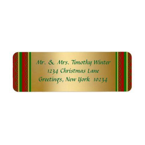elegant gold christmas return address labels gold christmas