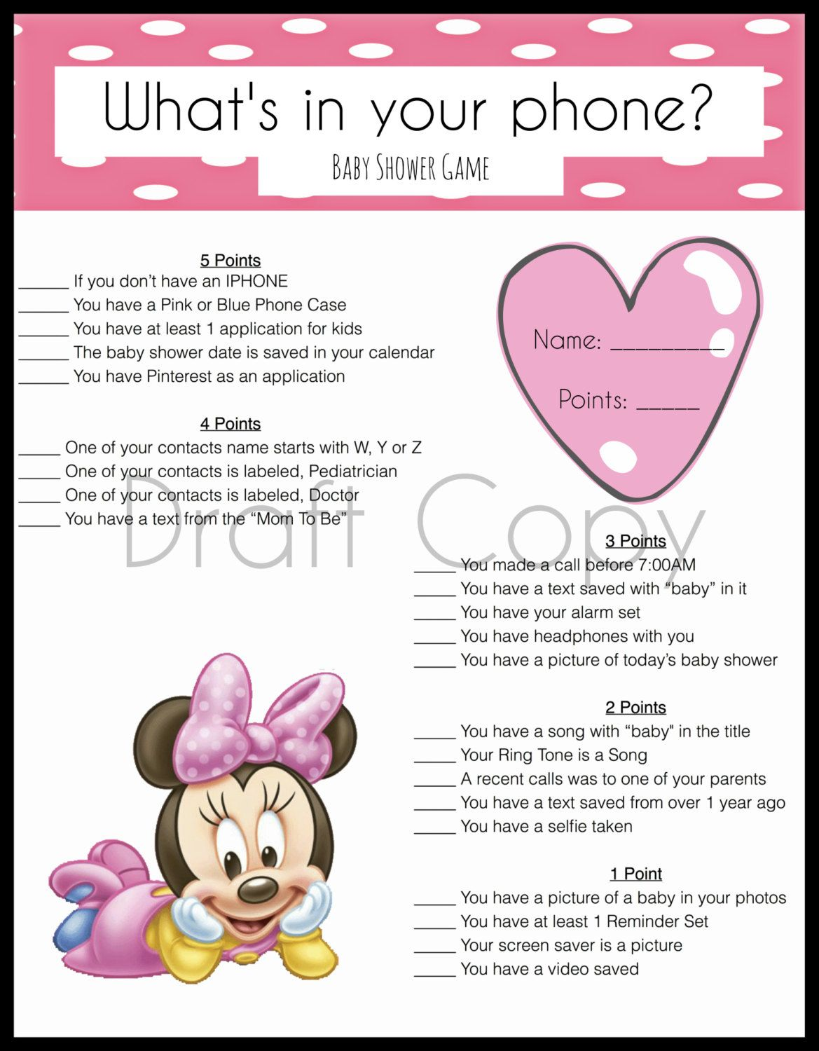 Minnie Mouse Baby Shower Games - Magical Printable ...