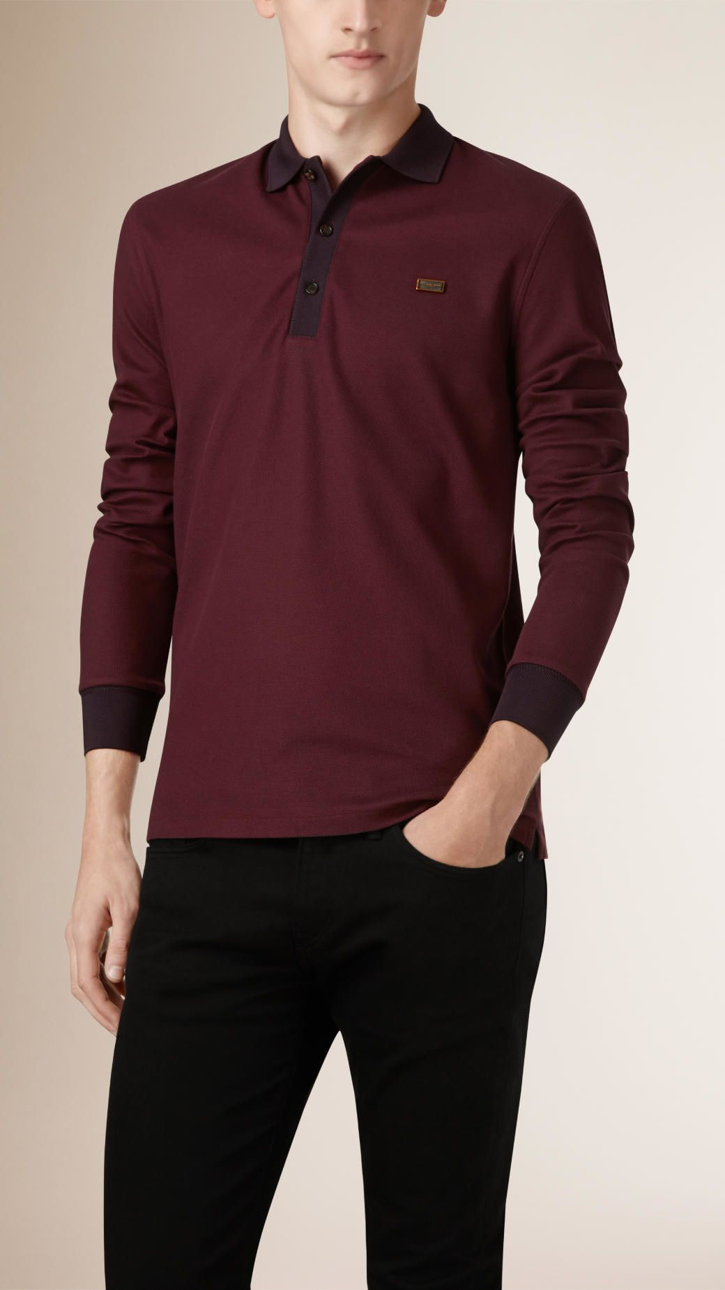 e9b5a1aeee Burberry Long-sleeved Cotton Piqué Polo Shirt in Brown for Men (MAHOGANY  RED DARK BURGUNDY)