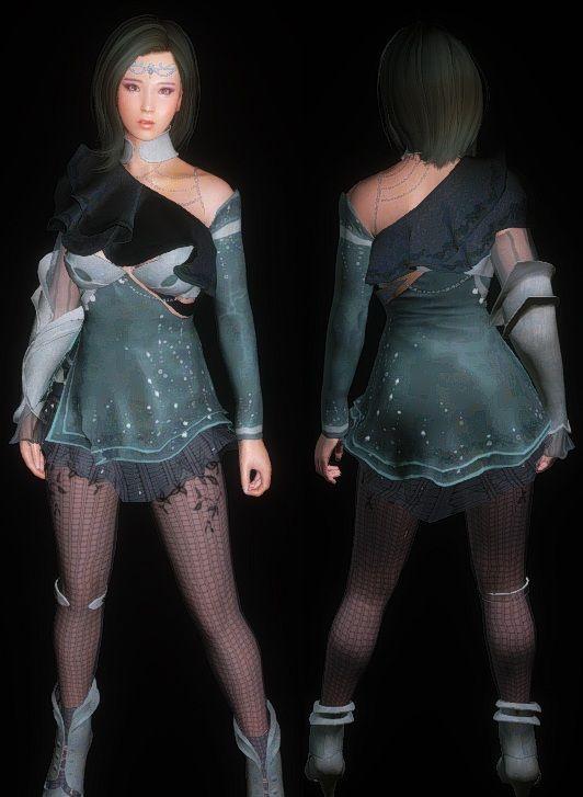 Skyrim Bdo Dark Outfit Black Desert Mod Cbbe Eskyrim