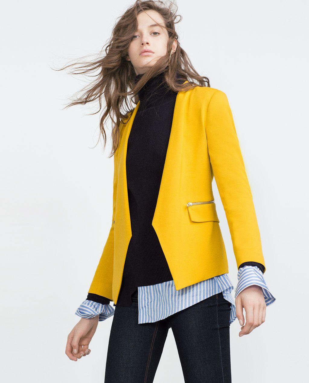 Blazer amarillo mujer zara