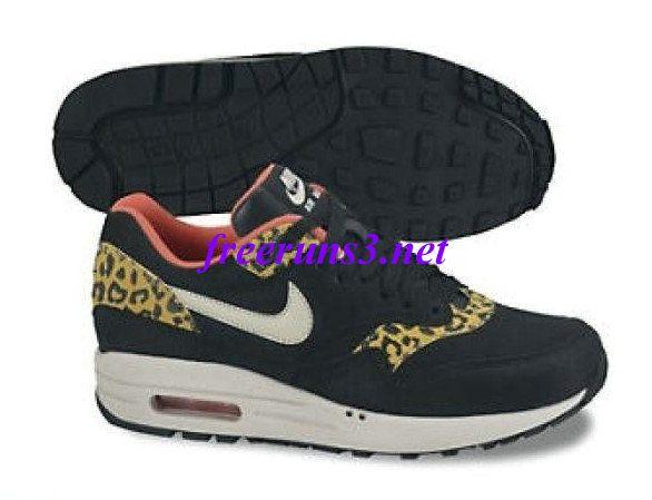 free shipping 8b7f2 30f8c M17028 Womens Nike Air Max 1 Leopard Pack Black Sandtrap Dark Gold Leaf  Sunburst Shoes