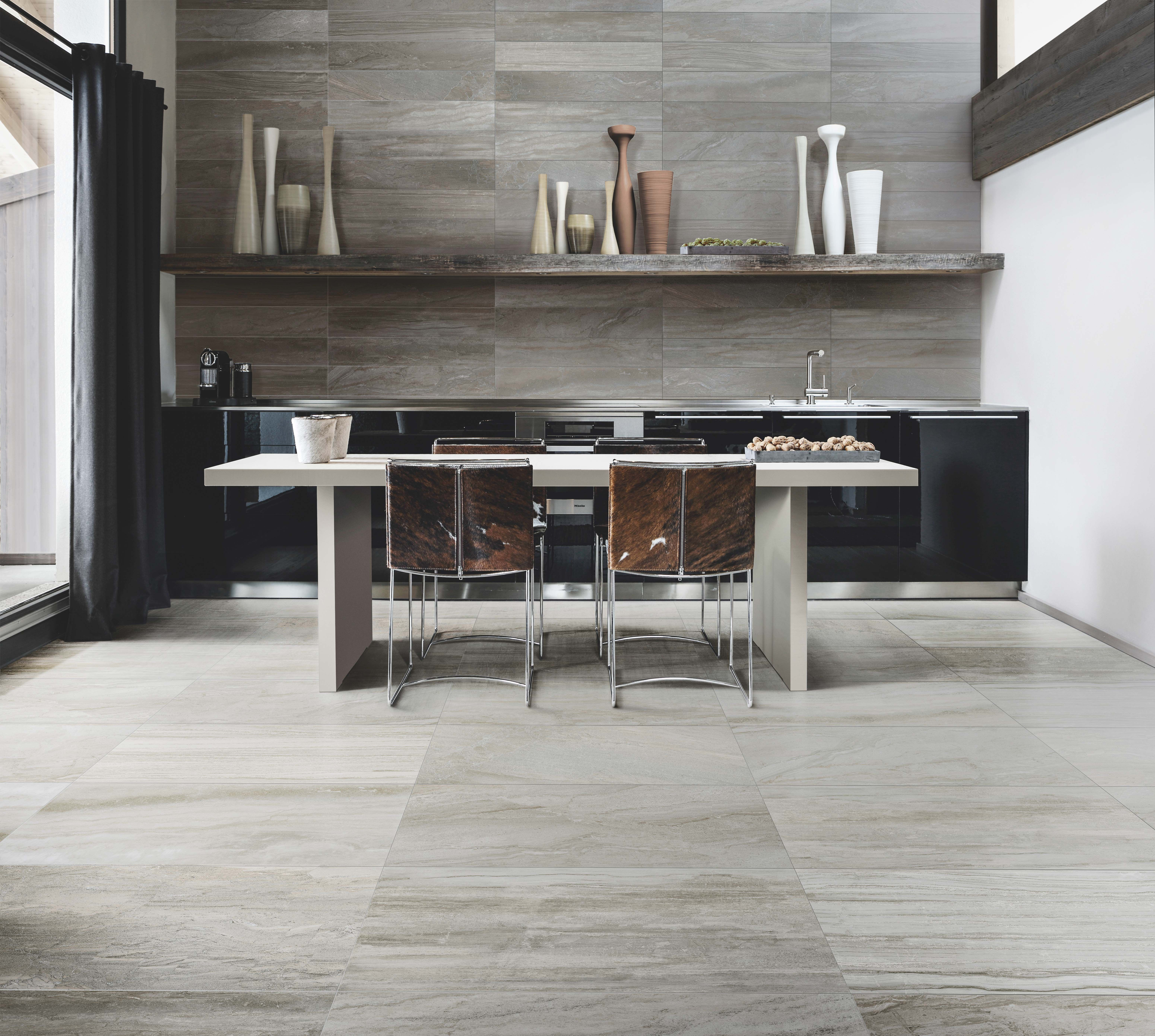 Mix Wood And Stone Look On Your Kitchen Floor Tile With Stone Fusion Series From Julian Tile Available In Kitchen Floor Tile Kitchen Flooring Residential Tile