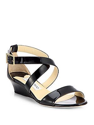 0a25aa9791f Jimmy Choo Chiara Patent Leather Wedge Sandals