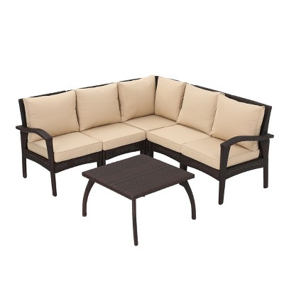 Maui 6pc All Weather Wicker Patio V Shaped Sofa Set Brown