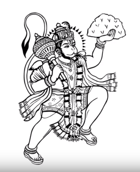 How To Draw Lord Hanuman Flying With Sanjeevi Mountain Step By Step Art Drawings Sketches Simple Hanuman Tattoo Lord Hanuman