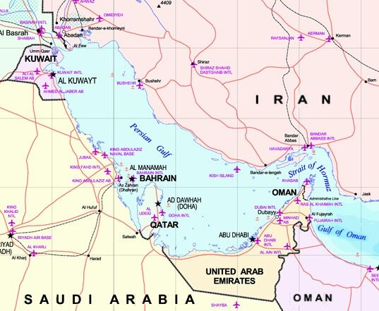 Middle East Map Strait Of Hormuz.The Middle East Showing The Persian Gulf Strait Of Hormuz And Gulf