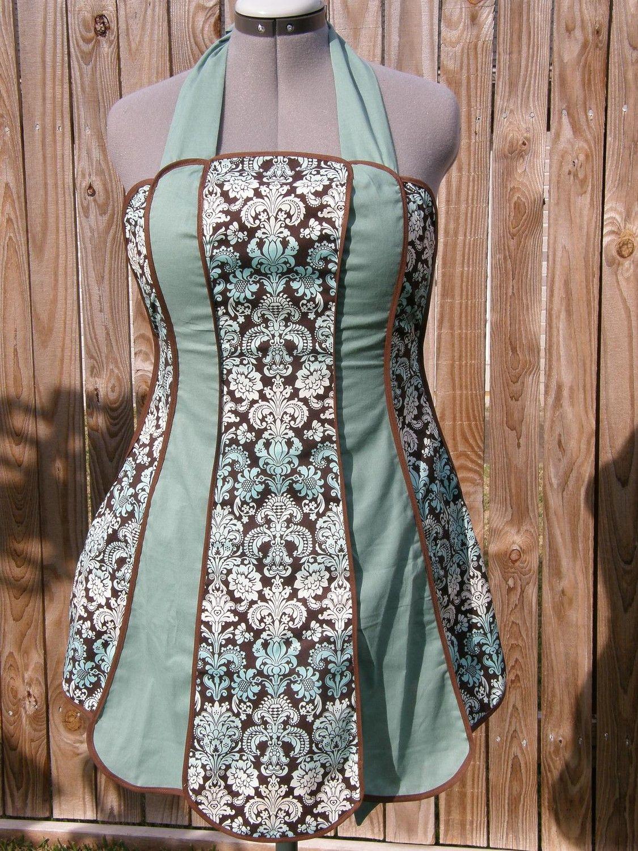 Vintage+Apron+Patterns+Free | Vintage Inspired Retro Apron (Blue ...