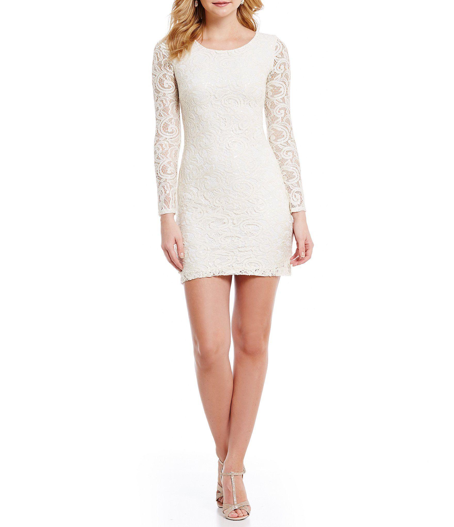 B darlin open back longsleeve lace sheath dress