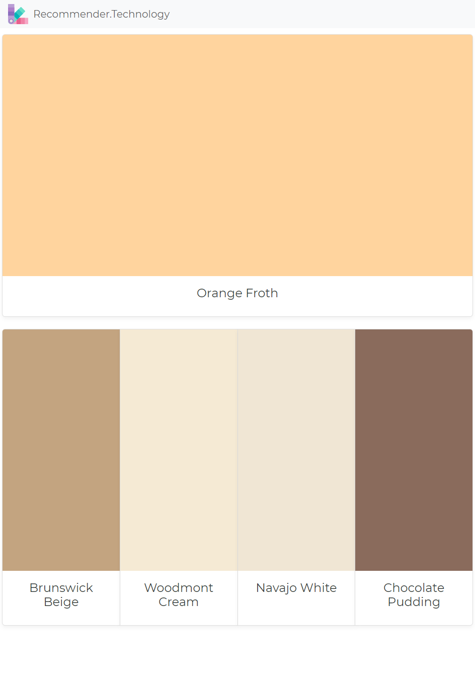 Orange Froth Brunswick Beige Woodmont Cream Navajo White Chocolate Pudding Paint Color
