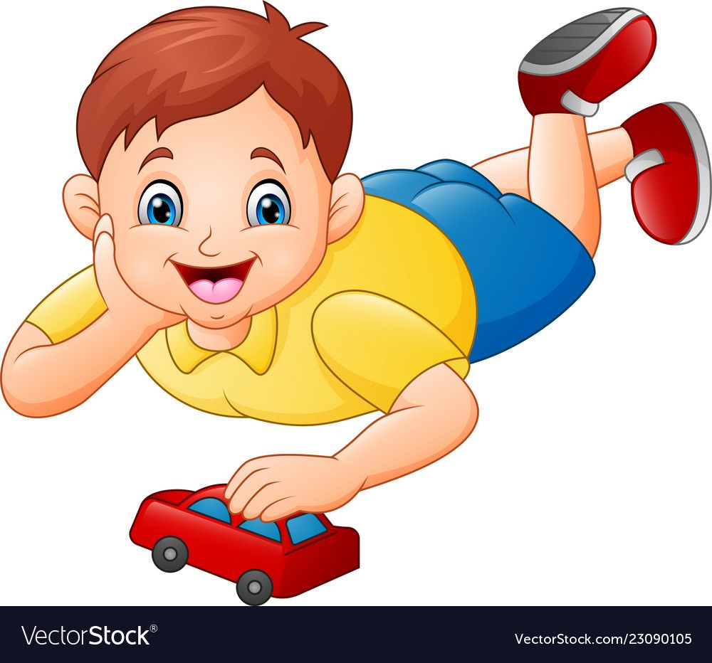 Cute Little Boy Playing Red Toy Car Vector Image On