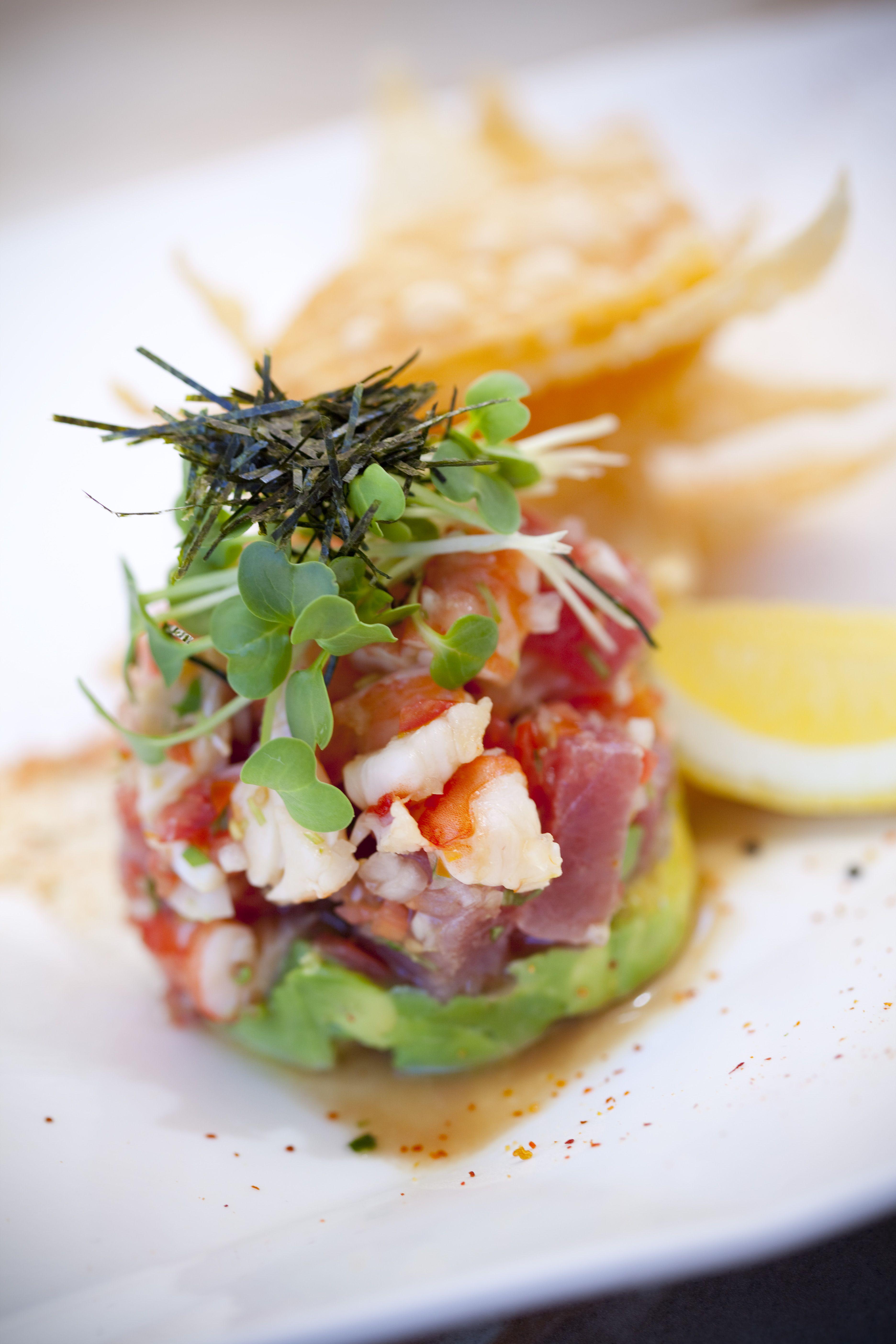 yuzu ceviche yellowfin tuna tiger prawns and avocado