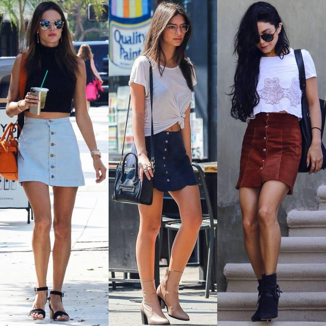 """""""3 women 1 skirt style trend: Who wore it better? #AlessandraAmbrosio #EmilyRatajkowski #VanessaHudgens #CelebStylBattle"""""""