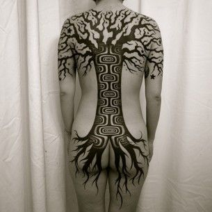 Full Back Blackwork Tree tattoo