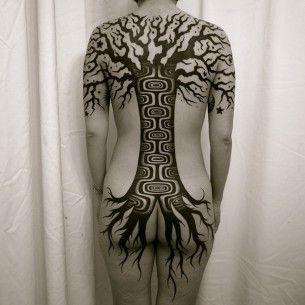 Full Back Blackwork Tree tattoo