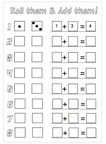 roll the dice addition worksheets to download math homeschool math math classroom. Black Bedroom Furniture Sets. Home Design Ideas