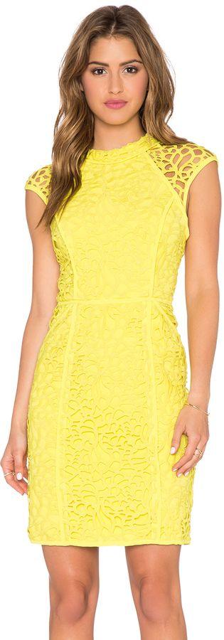 Lumier Heart Contours Lace Sheer Cap Sleeve Dress