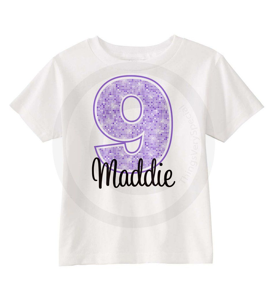 9th birthday shirt for 9 year old girl personalized
