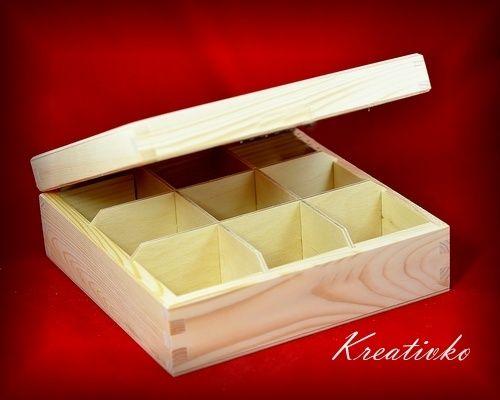 Krabica na čaj: 9-priehradková (bez zapínania)