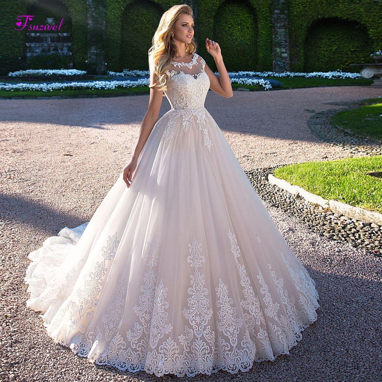 Fsuzwel Gorgeous Appliques Cap Sleeve A Line Wedding Dress 2019 Fashion Scoop Neck La Long Train Wedding Dress Wedding Dresses Vintage Princess Wedding Dresses [ 1500 x 1500 Pixel ]