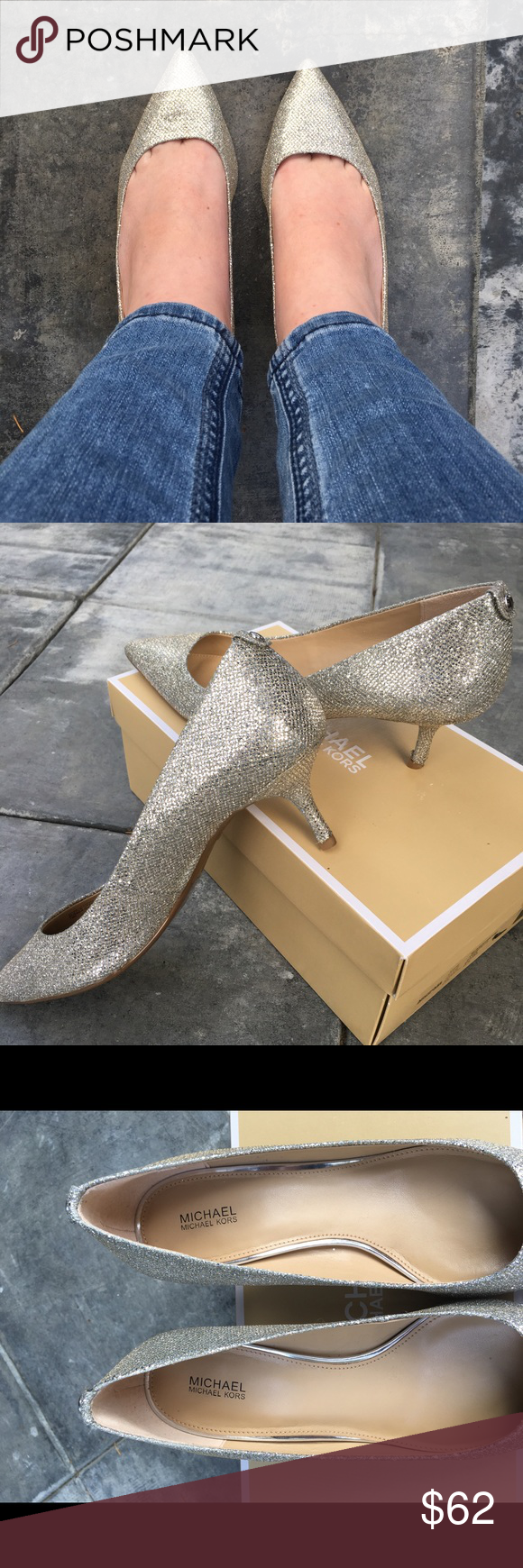 Michael Kors Flex Kitten Pump In Silver Glitter Michael Kors Shoes Heels