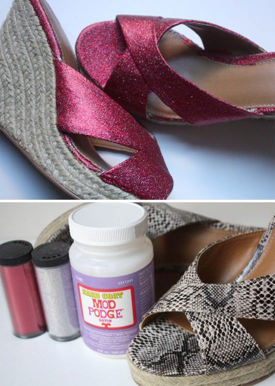 Diy Mod Podge Glitter Shoes Full Step