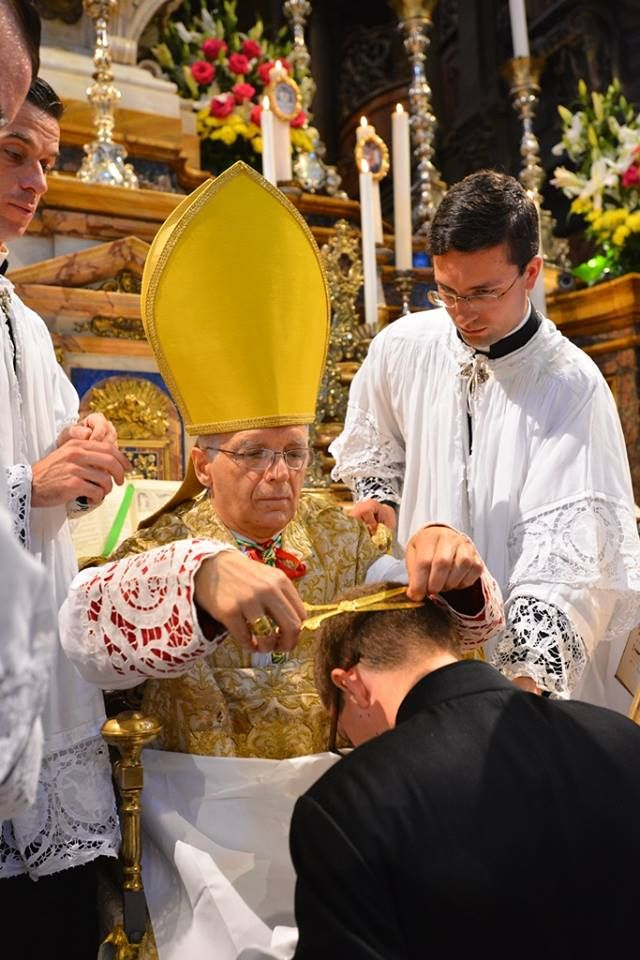 In The Tonsure Ceremony The Bishop Removes Five Locks Of Hair In The Shape Of The Cross In Order To Denote The Ren Catholic Priest Catholic Catholic Christian