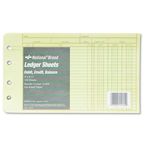 National Brand - Extra Sheets for Four-Ring Ledger Binder, 5 x 8-1/2