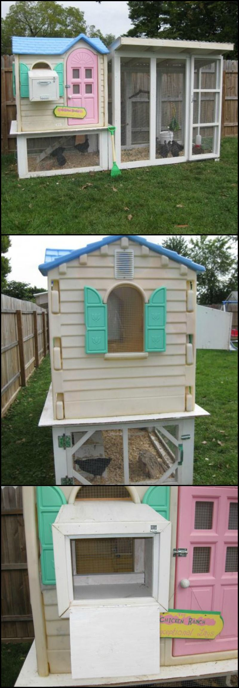 Turn an old playhouse into a chicken coop poulaillers for Cost to build a playhouse