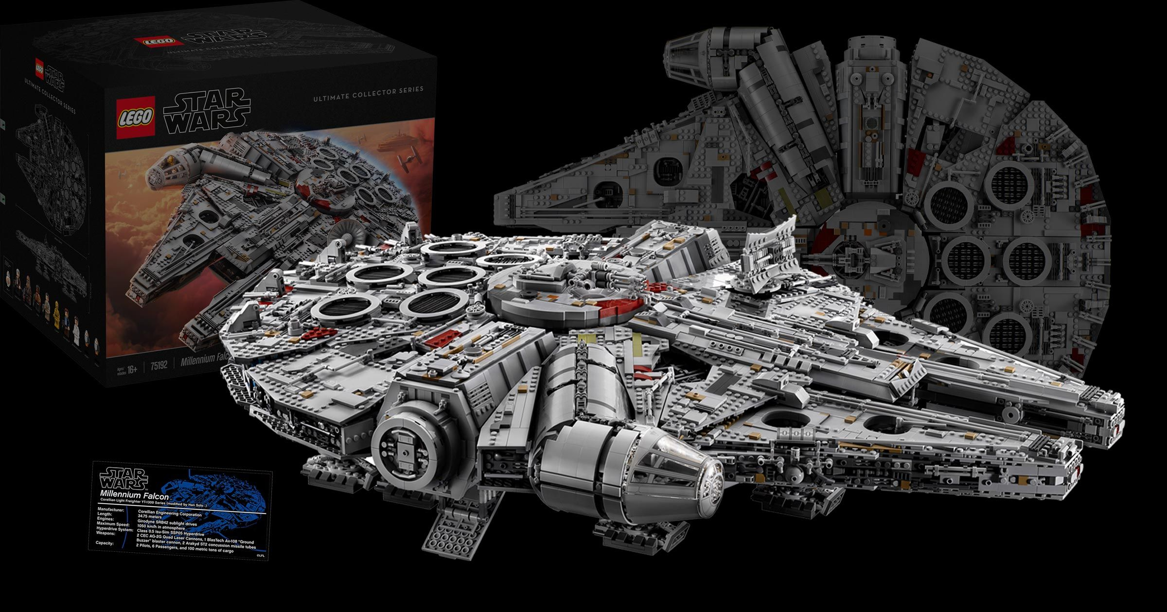 The New 75192 Ucs Millennium Falcon Has 10 Minifigs And 7 541 Pieces Making It The Largest Lego Set Ever