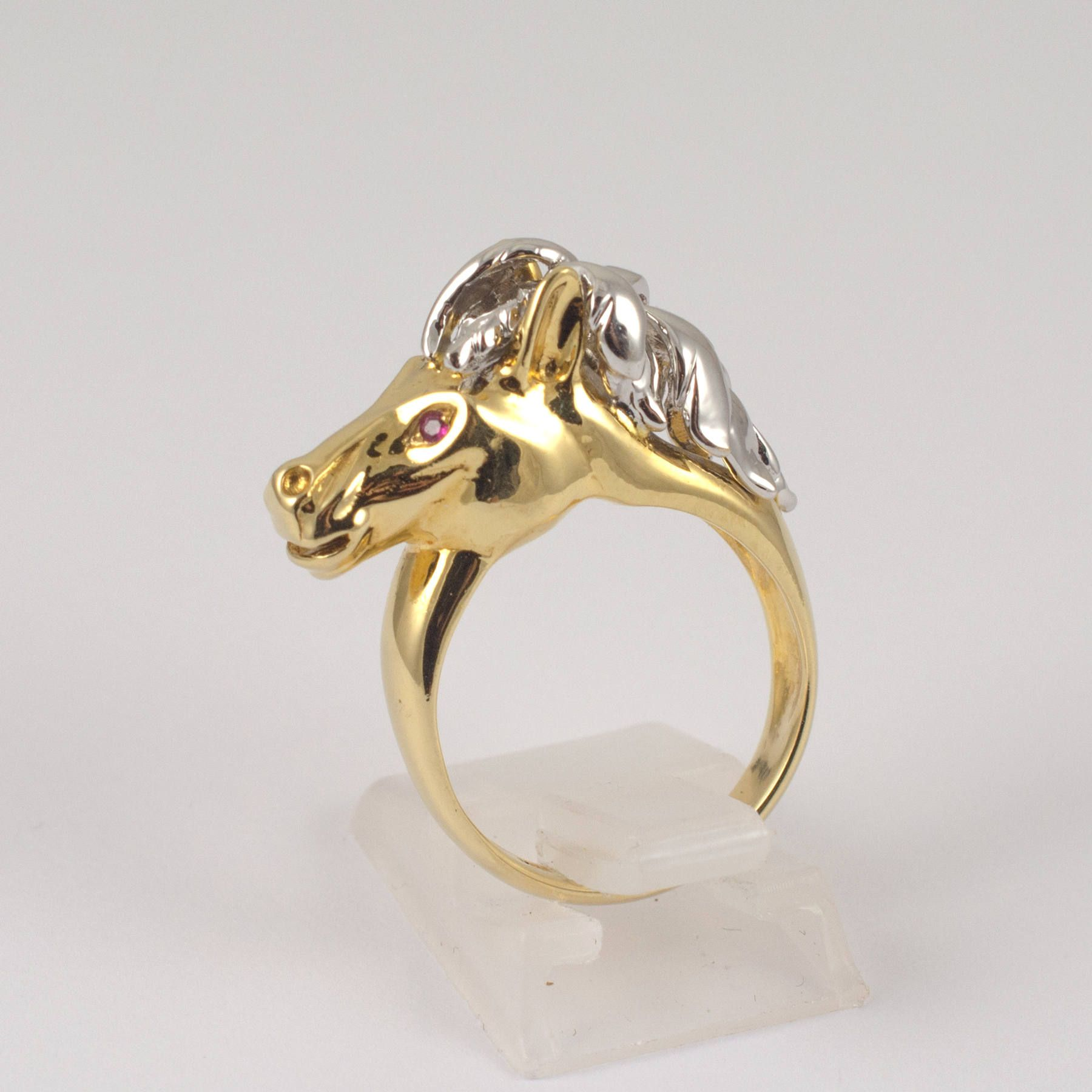 18K Yellow White Gold Horse Ring With Rubies Equestrian Jewelry