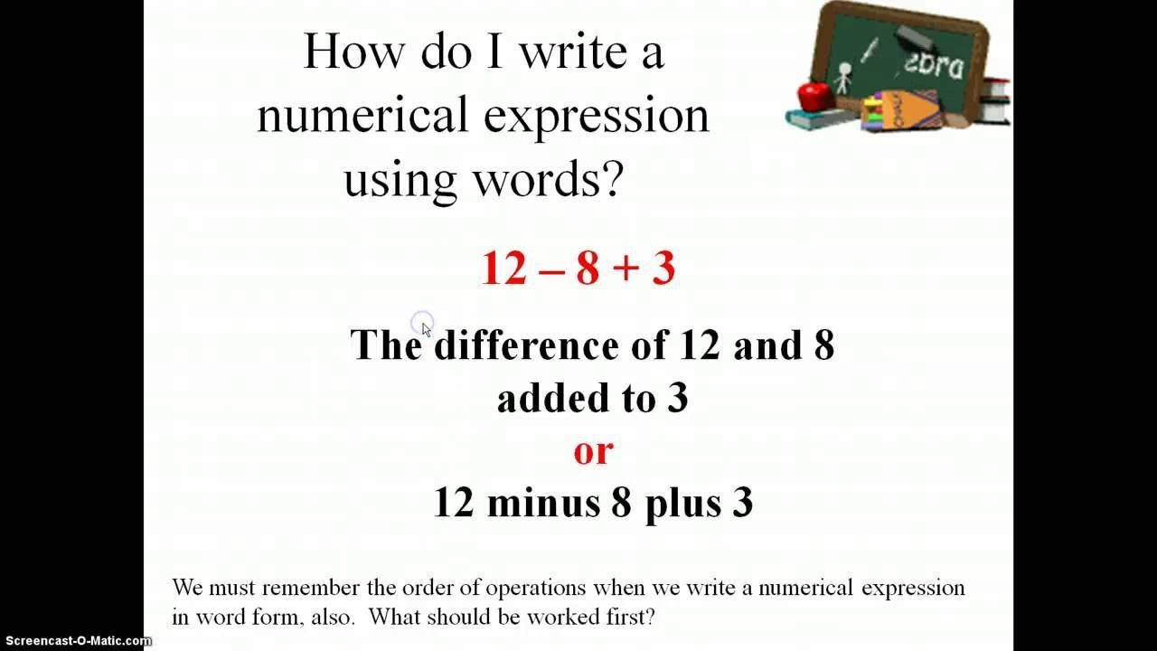 Writing Numerical Expressions Worksheet Writing And Interpreting Numerical Expressions 5 Oa 2 In 2020 Writing Expressions Numerical Expression Math Expressions
