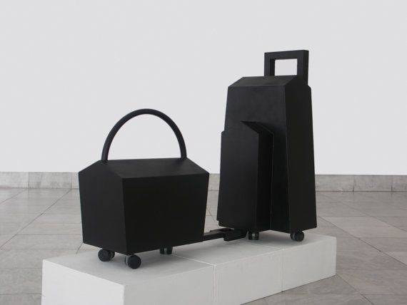 Sculture Mobili ~ Abstract associative sculpture train city luggage minimalist