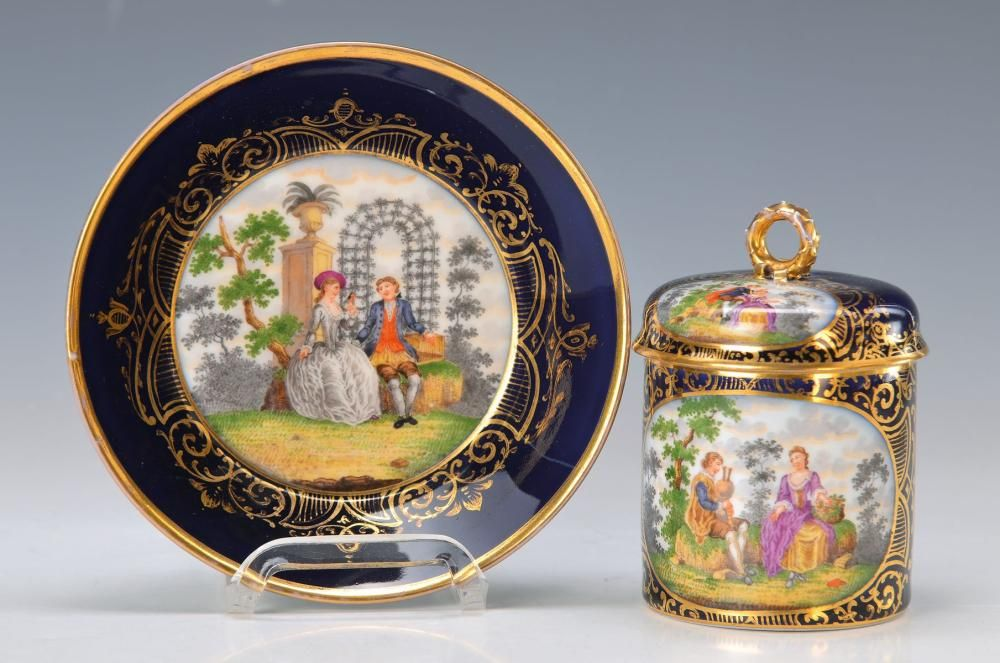 Fabulous antique lidded cup with saucer, KPM Berlin