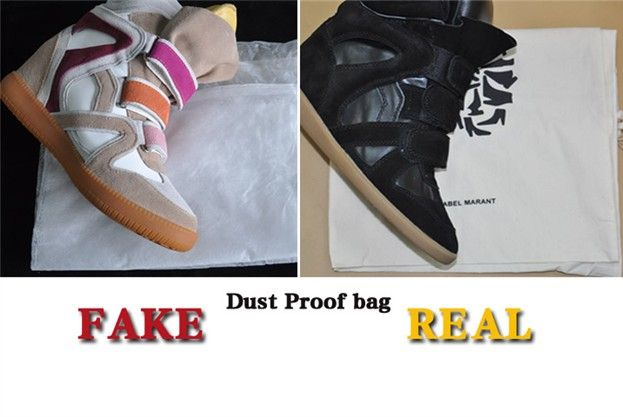 Genuine Isabel Marant sneakers come in a logo stamped dust proof bag,  whereas the replicas