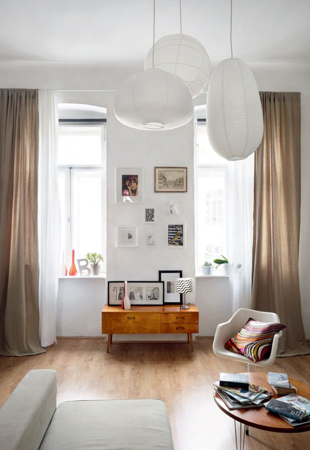 cheap ikea lamps and curtains can still work in modern vintage.