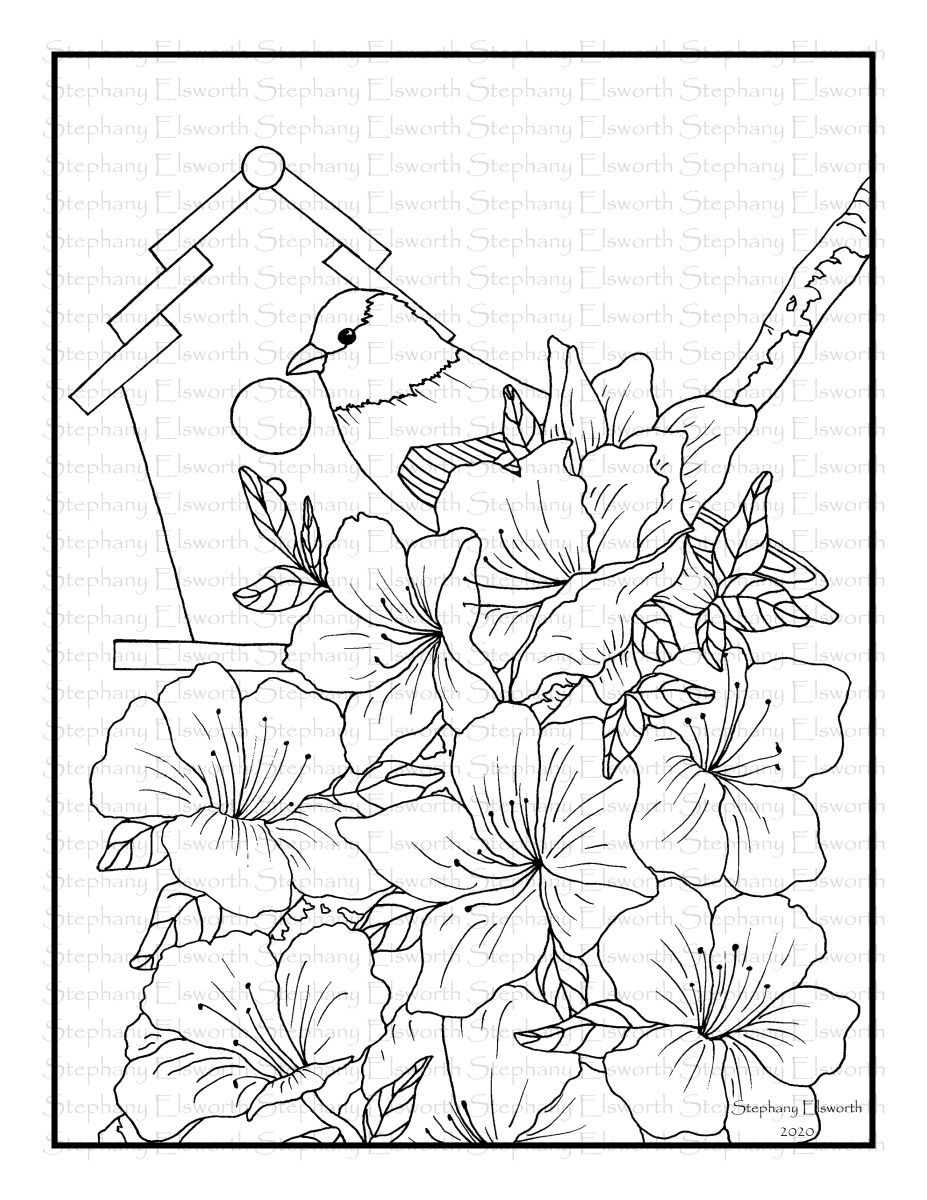 Goldfinch And Azaleas Printable Coloring Page In 2020 Coloring