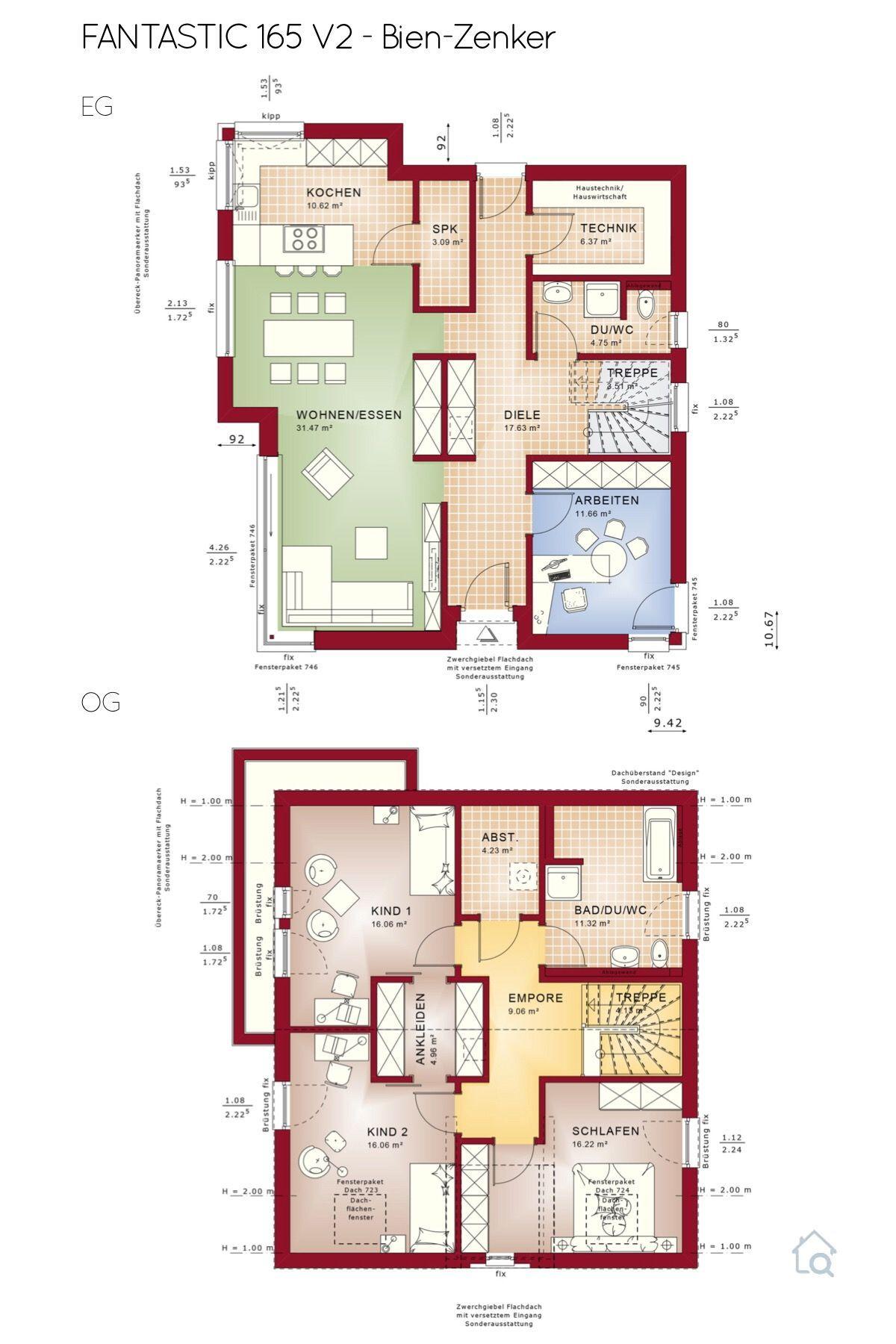 Grundriss Einfamilienhaus modern mit Satteldach 5 Zimmer