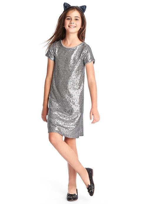 99db1d131a46 Best sparkly dresses for the holidays: This simple silver shift at Gap is  fun for any holiday party.