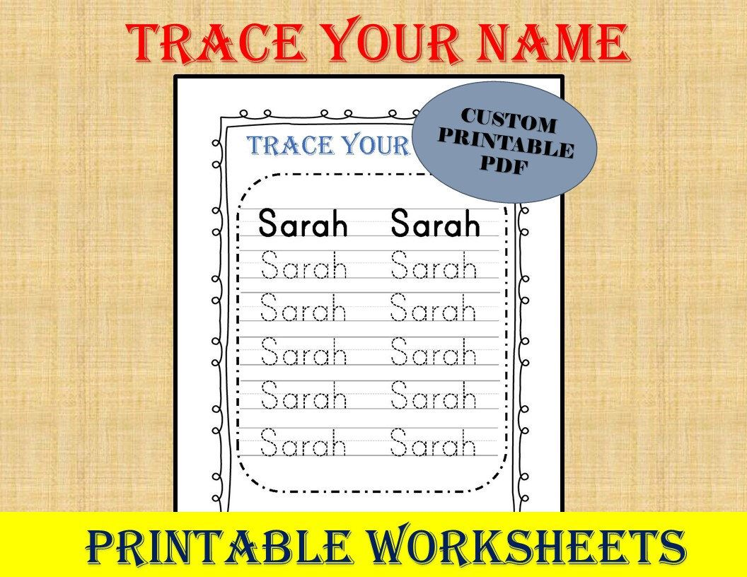 Excited To Share This Item From My Etsy Shop Personalized Trace Your Name Printable Writing Practice Worksheets Name Writing Practice Name Tracing Worksheets [ 816 x 1056 Pixel ]