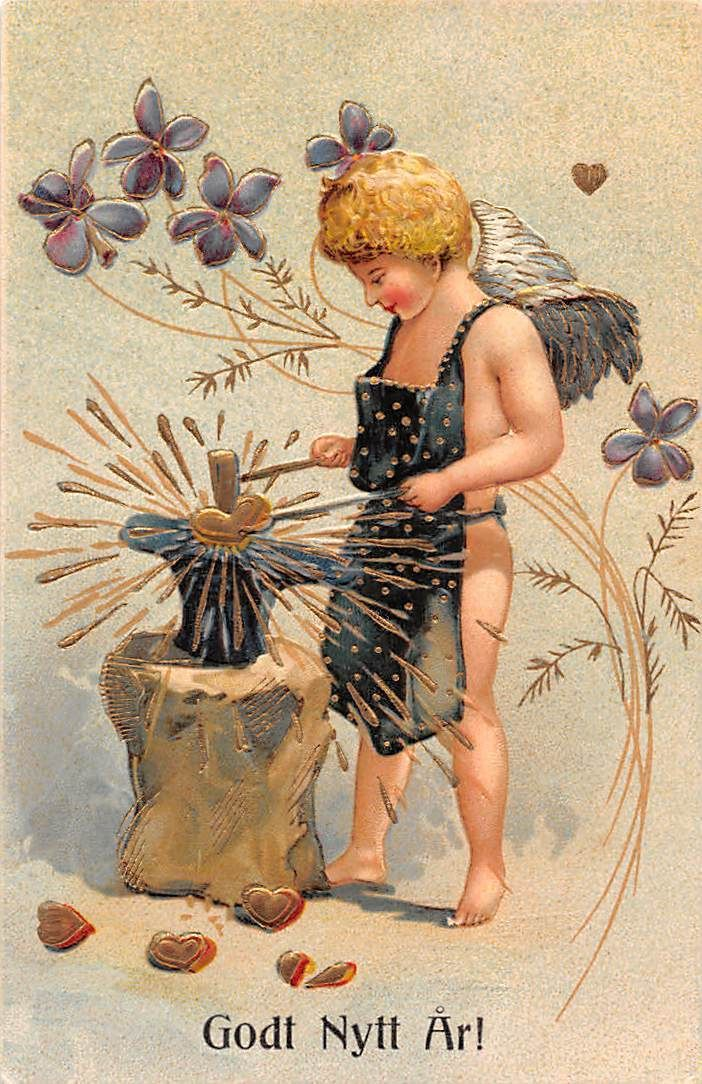 Godt Nytt Ar! New Year Embossed blacksmith heart angel cherub violets flowers | eBay