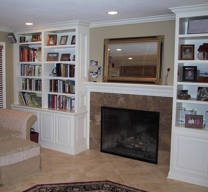 Fireplace Cabinets: Built In Cabinets Around Fireplace. Pay Attention To The