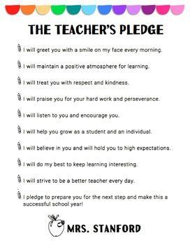 Teacher Pledge to Students (EDITABLE) | School Things