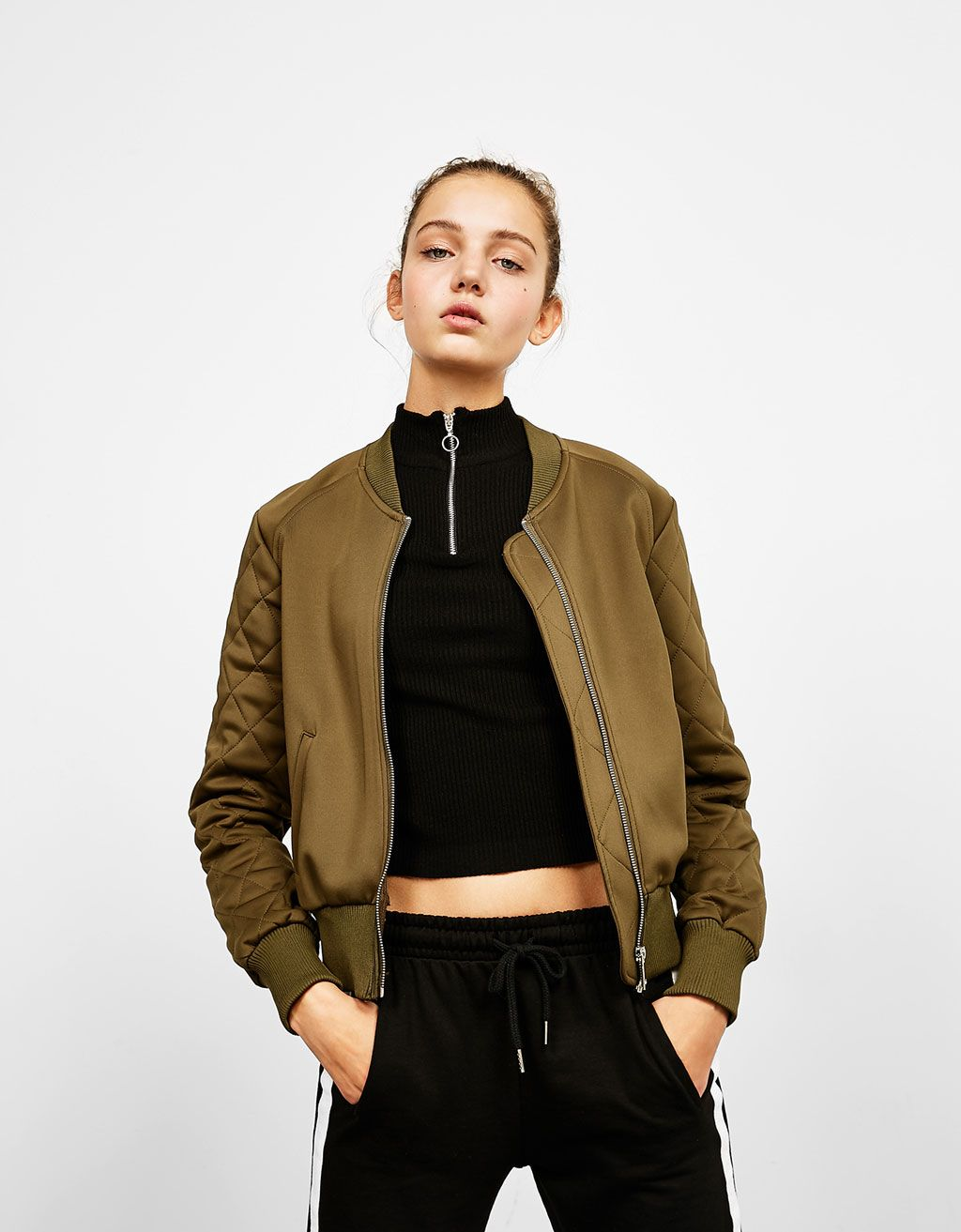 0dc4d73a20 Bomber jacket with quilted sleeves in 2019 | Fashion | Bomber jacket ...