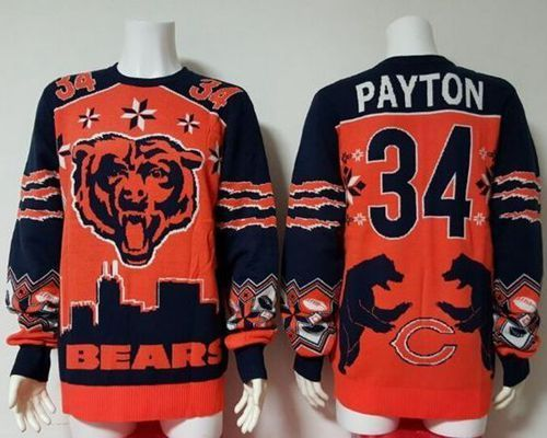 Top men nike bears 34 walter payton orange stitched nfl limited rush jersey  for sale